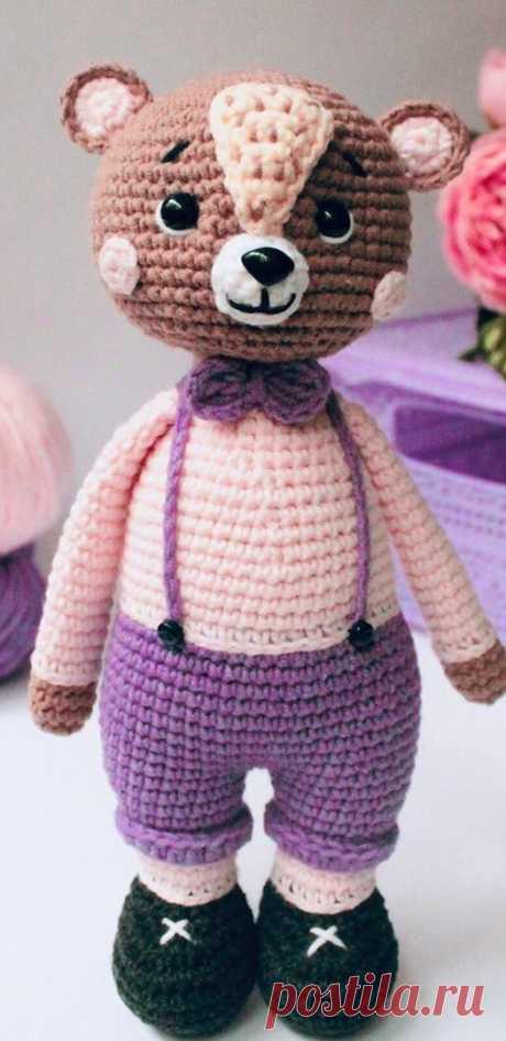PDF Мишка Брауни крючком. FREE crochet pattern; Аmigurumi animal patterns. Амигуруми схемы и описания на русском. Вязаные игрушки и поделки своими руками #amimore - медведь, медвежонок, мишка.