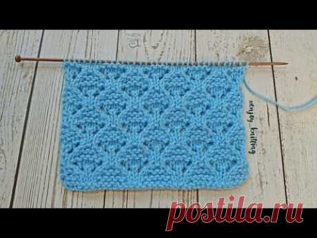 ШИКАРНЫЙ Ажурный Узор Спицами ГРИБОЧКИ   How to knit Lace mushrooms stitch pattern