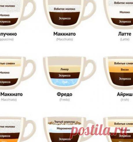 Почти все рецепты кофе в доходчивой картинке.