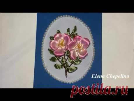 Открытка вышитая лентами / Postcard embroidered with ribbons