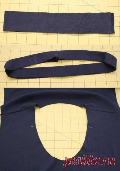 Обработка горловины на трикотажном изделии