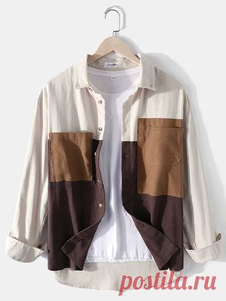 Banggood Design Mens Cotton Colorblock Patchwork Loose Double Pockets Long Sleev - US$32.99