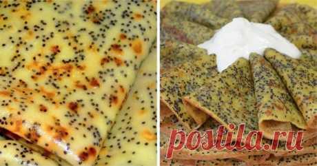 Французские маковые блинчики: все гости тают от них! Можно просто в тесто мак добавить, но вкуснее, если сделать целый штрудель.