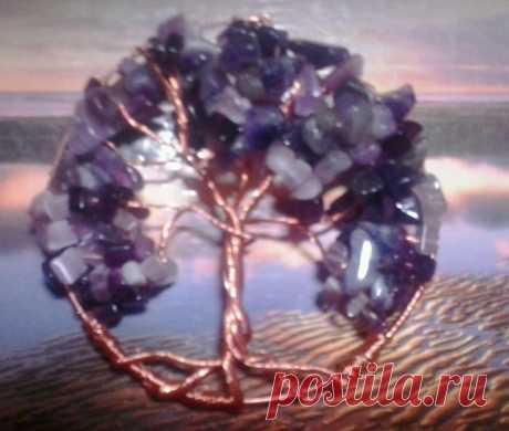 *дерево жизни*  медная проволока, кварц