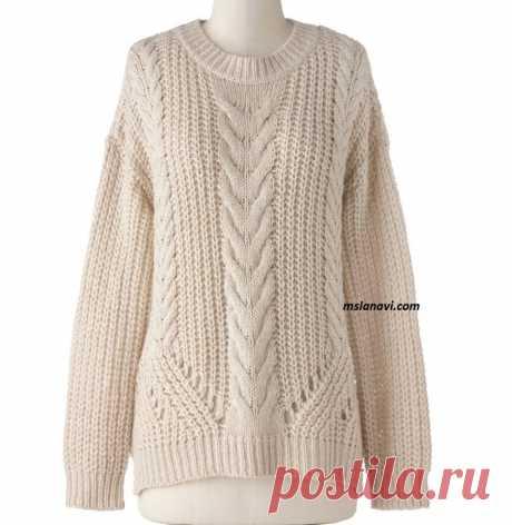 Свободный свитер спицами с рельефами (вязание спицами)