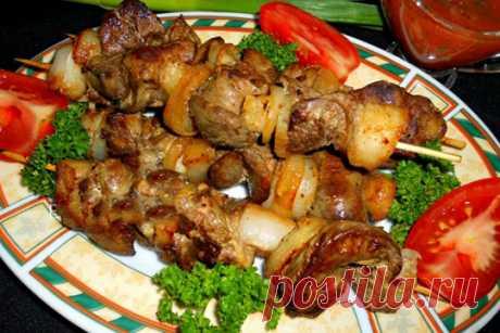 Шашлык из куриной печени на сковороде — ХОЗЯЮШКА