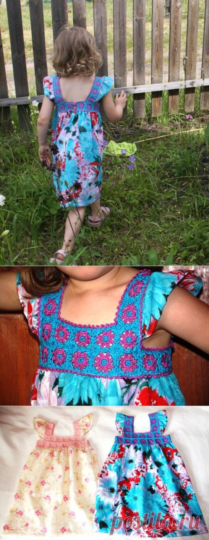 Комбинированный сарафан для девочки (крючок + ткань) со схемой | Поделки, рукоделки, рецепты | Яндекс Дзен