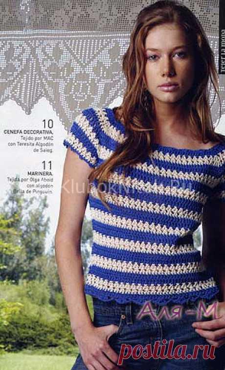 Топ в синюю полоску | Вязание для женщин | Вязание спицами и крючком. Схемы вязания.