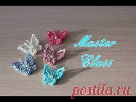 Master class in knitting of a little butterfly hook
