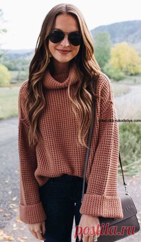 Свитер спицами узором узелки . Стильный женский свитер с большим воротником | Шкатулка рукоделия. Сайт для рукодельниц.