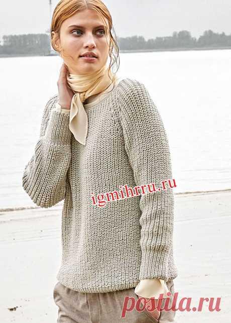 Лаконичный шерстяной пуловер-реглан цвета шелка-сырца