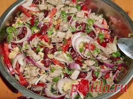 Как приготовить вкусный салат с фасолью - рецепт, ингредиенты и фотографии