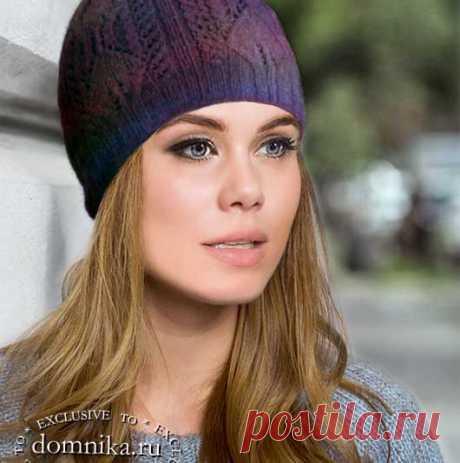 Вязаные женские шапки с узором листья 9 моделей со схемами вязания