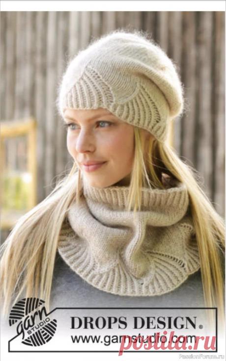 Шапка и манишка от Drops desing | Вязание для женщин спицами. Схемы вязания спицами