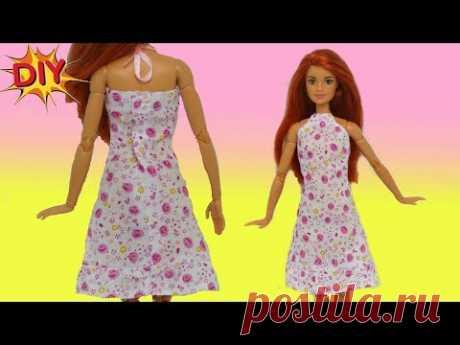 Как сшить ЛЕТНЕЕ ПЛАТЬЕ из хлопка для куклы своими руками