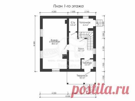Проект полутораэтажного дома из блоков 8.5 на 8.5 м ДГ008 | Бобры