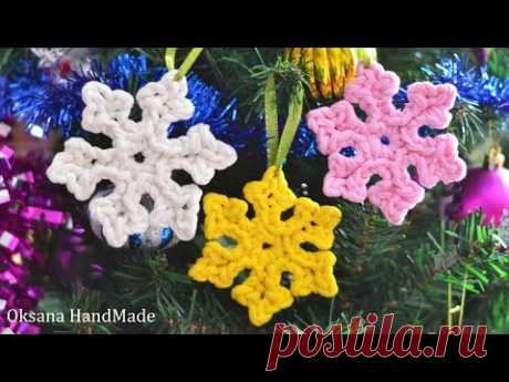 Снежинки крючком из трикотажной пряжи. Snowflake crochet