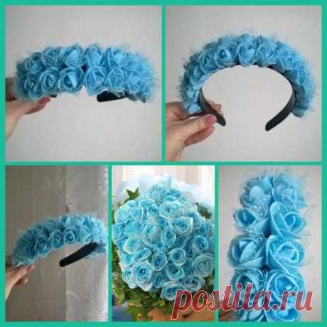 № 7 Ободок с голубыми розами, фатин. Розы из фоамирана