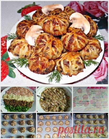 Клубочки из слоеного теста с куриным фаршем, грибами и рисом. Вкусно и необычно!