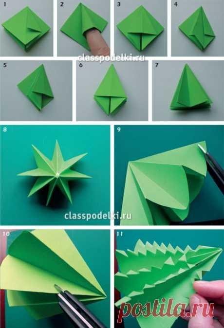 Разные способы создания ёлочек из цветной бумаги