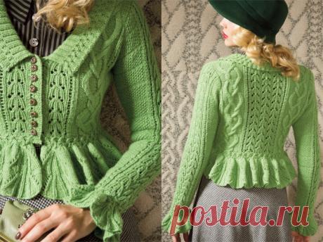Зеленый жакет с баской из Vogue Knitting | Шкатулочка для рукодельниц