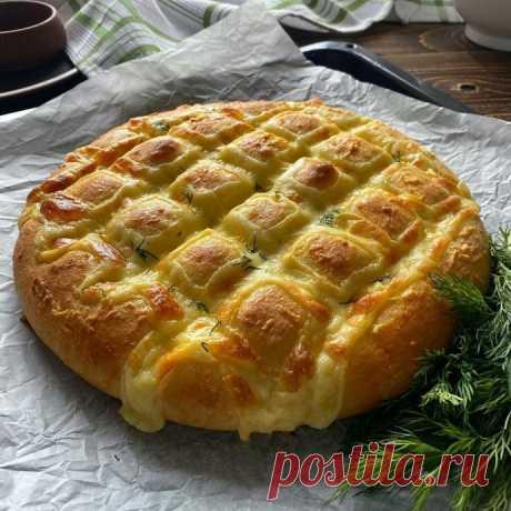 Хлеб-лепешка с сыром и зеленью