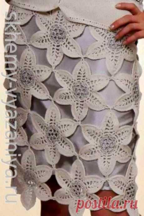 Узор крючком: серебристые цветы - плотный мотив из тонкой пряжи
