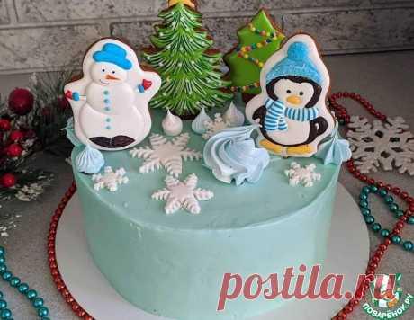 """Шоколадный торт с вишней """"Снежные мотивы"""" – кулинарный рецепт"""