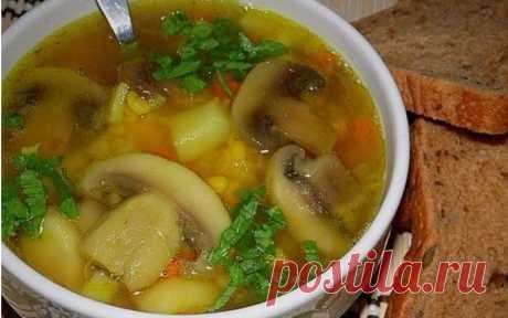 Гороховый суп с курицей и грибами - Кулинарные Рецепты