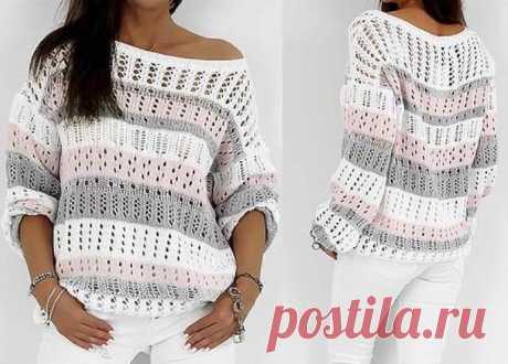 Понравился пуловер своей простотой и элегантностью ,спицы (только схемы узоров)