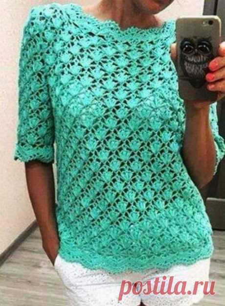 Стильный летний пуловер бирюзового цвета из категории Интересные идеи – Вязаные идеи, идеи для вязания