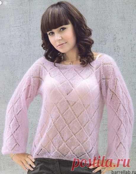 Мохеровый пуловер спицам. Летний пуловер красивым узором | Вязание для всей семьи