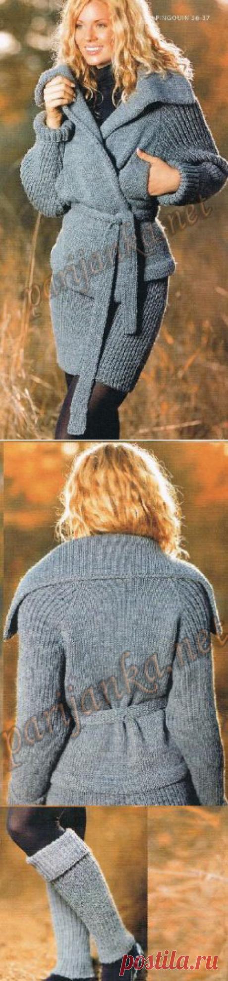 Вязание спицами для женщин Куртка, юбка, гетры