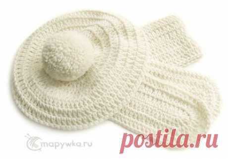 Берет с помпоном и шарф - белые вязаные - купить | Одежда ручной работы | HANDMADE интернет-магазин