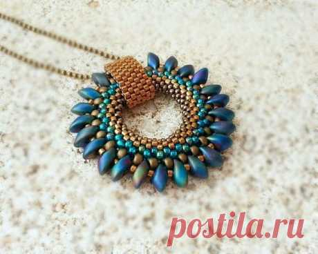 Bronze Blue Green Beaded Pendant with Magatama Beaded by ByElir | specialty shaped beads