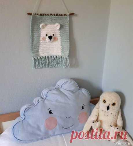 «Вязаный мишка» — декоративное панно для детской — Отлично! Школа моды, декора и актуального рукоделия