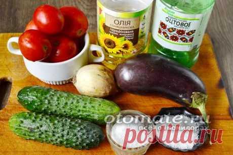Салат из огурцов и баклажанов в томатном соусе на зиму