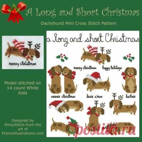 Dachshund A Long and Short Christmas Counted Cross Stitch Patterns of artist paintings, mini cross stitch, modern cross stitch. Stitcher Accessories and more.