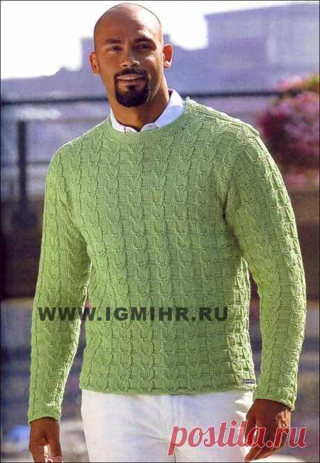Мужской зеленый пуловер с рельефными узорами  от финских дизайнеров.