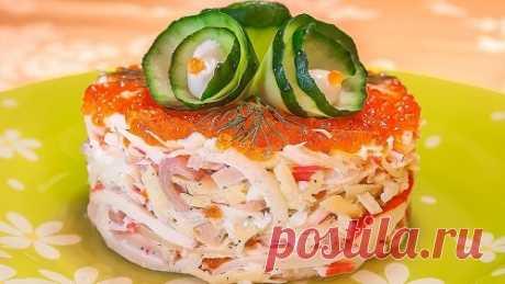 Салат с кальмарами и крабовыми палочками – рецепт (с фото)