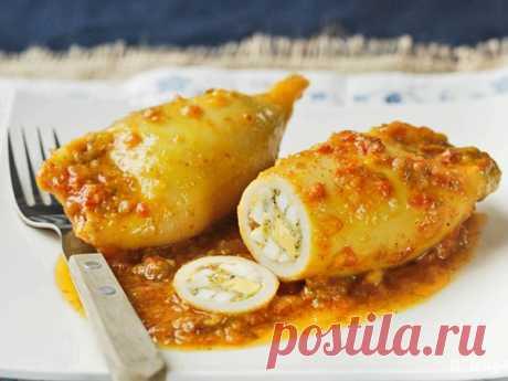 Кальмары, фаршированные креветками - HOTDOGU.net - каталог кулинарных рецептов.супы, вторые блюда, салаты, закуски, десерты, коктейли, торты и выпечка.