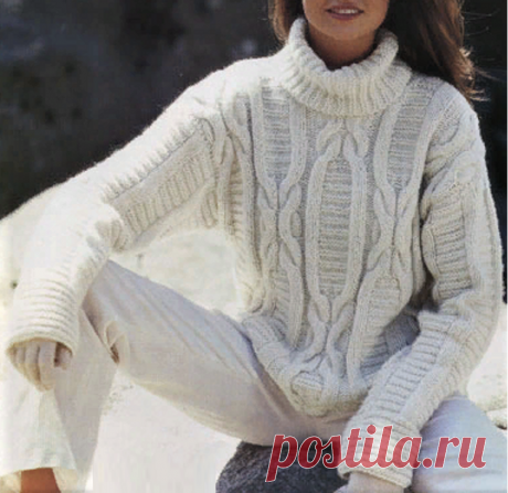 Стильный белый свитер с шикарными рельефными узорами