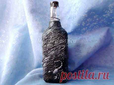 Мастер-класс. Декор бутылки своими руками. Черный скорпион