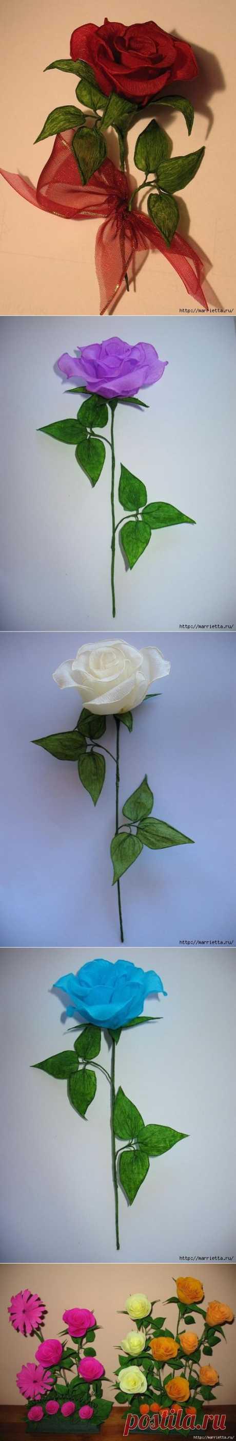 Очень красивые розы из гофрированной бумаги.