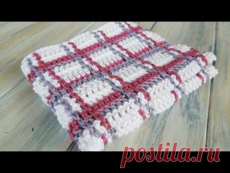 (Crochet) How To - Crochet Tartan Plaid Wash Cloths