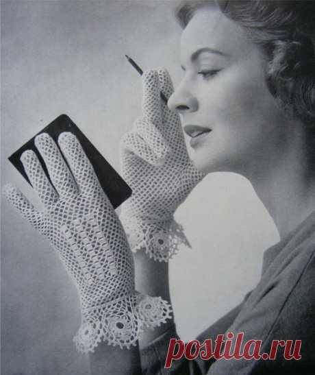 Перчатки крючком - элегантное ретро |