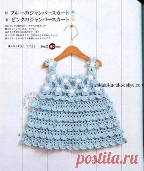 Летнее платье для малышки крючком. Детское платье с цветочной кокеткой крючком | Шкатулка рукоделия