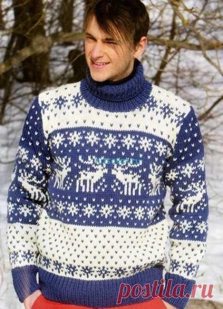 Жаккардовый свитер для мужчины из категории Интересные идеи – Вязаные идеи, идеи для вязания