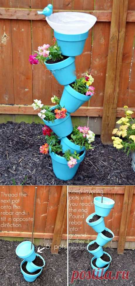 Flowerpots the hands with a drinking bowl for birds | My Milady