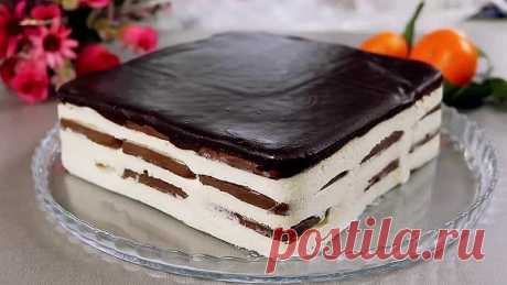 Простой Шоколадный Торт Без Выпечки с мягкой шоколадной глазурью!